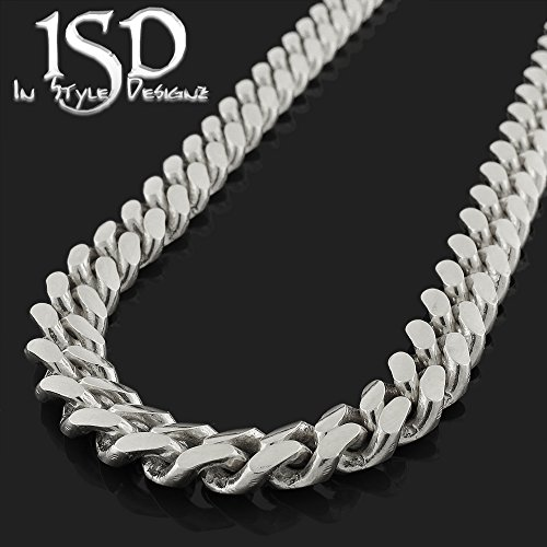 Sterling Silver 7.5mm Miami Cuban Curb Link Thick Solid 925 Rhodium Chain Necklace 24'' - 30'' (24) by In Style Designz (Image #1)