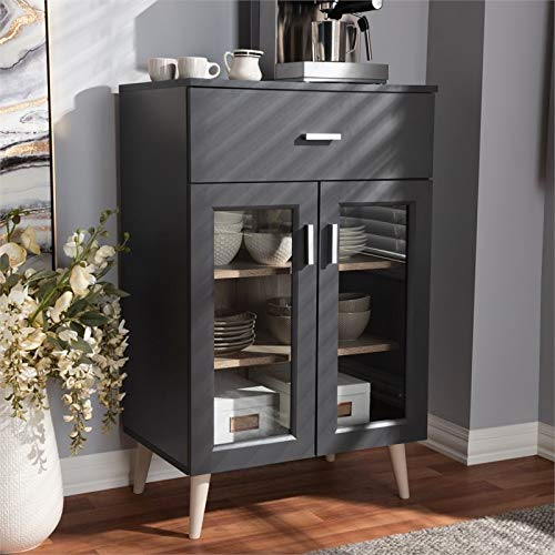 Baxton Studio Jonas Server Cabinet in Dark Grey and Oak Brown