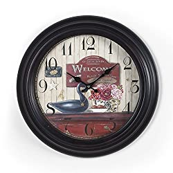 Adeco CK0097 14~15 Black & Brown Antique-Look Dial Decorative Vintage Retro Traditional Wall Hanging Round Circle Iron Clock, Arabic Numerals Numbers, Battery Quartz, Non Ticking Silent Hands, Home Office Decor, Black
