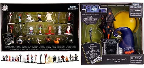 Nightmare House Before Christmas Jack's Skellington Scene Display + 20 Mini Figure Nano Metal Character Collection Trick or Treat in Halloweentown with Sally / Zero / Oogie Boogie / Mummy and Friends ()