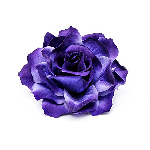 Brooch Corsage - DreamLily Rose Flower Hair Clip Flamenco Dancer Pin up Flower Brooch BC10 (Purple)