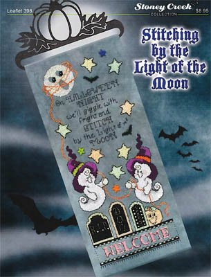 Stitching By the Light of the Moon Cross Stitch Chart and Free Halloween Embellishment]()
