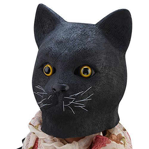 PARTY STORY Black Cat Latex Animal Head Mask Novelty Dress up Costume Rubber - Head Shape Cat
