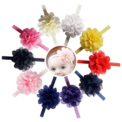 CN 10pcs Baby Girls Headband Hair Band With Interchangeable Chiffon Flower Hair Bows Newborn Baby Toddler Infant (70s Outfits For Men)