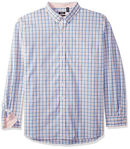 IZOD Men's Size Big Essential Tattersall Long Sleeve Shirt, Papaya Punch, X-Large Tall Slim (Clothing Tall Slim)