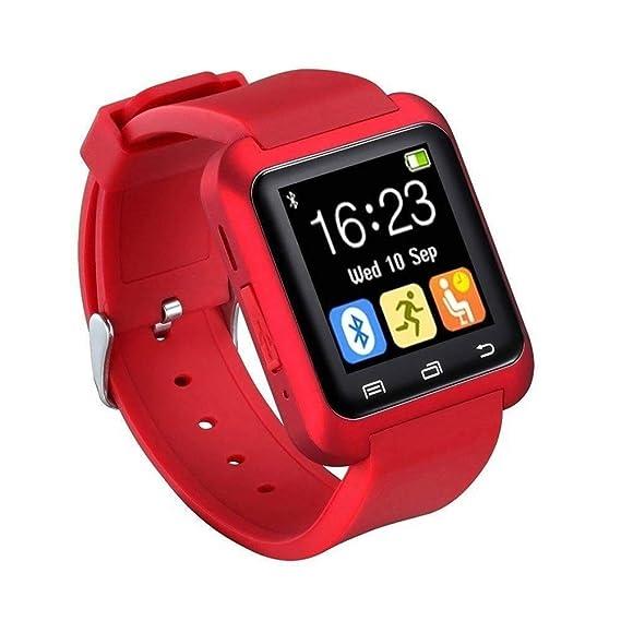 Bluetooth Smartwatch U8 Reloj Inteligente Reloj de Pulsera Reloj Deportivo Digital Reloj para teléfono Android Dispositivo portátil usable (Rojo): ...