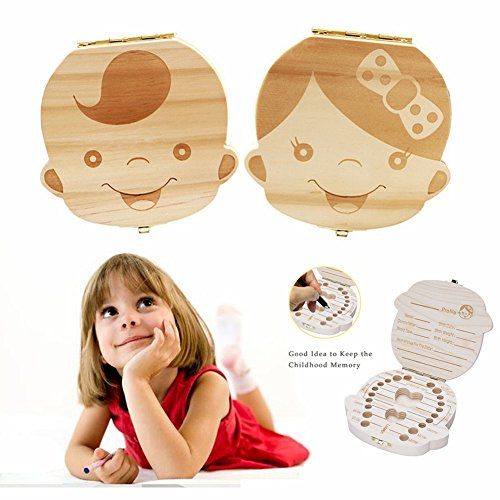 NASHRIO Baby Teeth Box, Cute Wooden Save Toddler Years Lost Tooth Keepsake Gift with Tweezers (Lost Tooth)