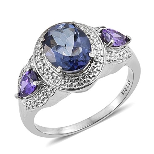 Stainless Steel 2.7 Cttw Oval Odyssey Tanzanite, Cubic Zircon Blue Flower Blue Ring For Women Size ()