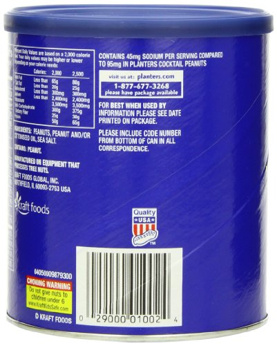 Amazon.com : Planters tail Peanuts, Lightly Salted, 16 Ounce ... on peanut m & m's nutritional information, coca-cola nutritional information, capri sun nutritional information,