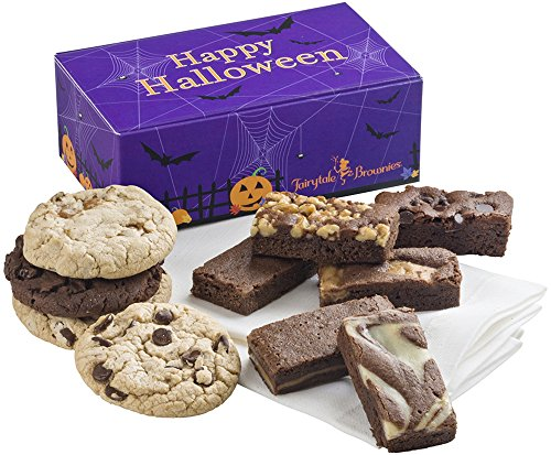 Fairytale Brownies Halloween Cookie & Sprite Treat Combo Gourmet Chocolate Food Gift Basket - 3 Inch x 1.5 Inch Snack-Size Brownies and 3.25 Inch Cookies - 10 Pieces - Item FL320 -