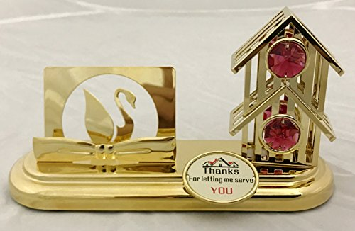 24K Gold Plated Bird House Card Holder with Red Swarovski -