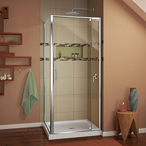 w kit with pivot shower door in chrome and white acrylic base