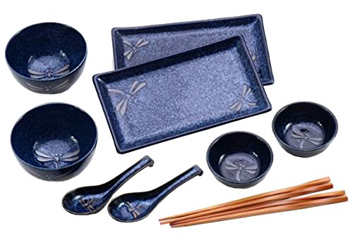 Japanese Dining Set - Happy Sales HSBH85/N, 10-Piece Dinnerware Set Blue Dragonfly
