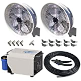 18'' Professional Series 2 Misting Fan with Pump and Hose DIY Kit, Black, 1000 psi, 0.18 GPM Pump, 110V, 15 Amp