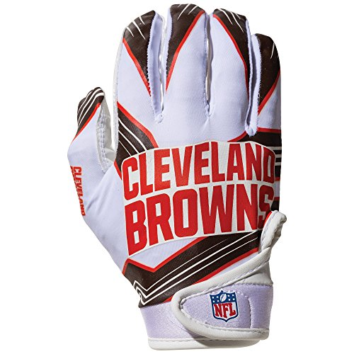 Franklin Sports NFL Cleveland Browns Youth Receiver Gloves,White,Medium