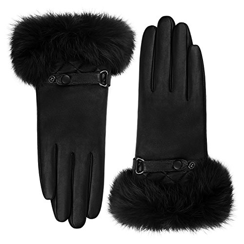 GSG Womens Luxury Italian Genuine Nappa Leather Gloves Fashion Fur Trim Full Palm Touchscreen Winter Warm Gloves Black 8.5 by GSG (Image #3)'