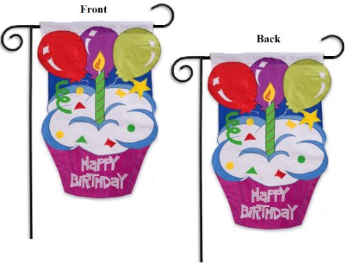 Happy Birthday Garden Flag 2 Sided Cupcake with Candle and B