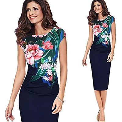 Hatoppy Women's Round Neck Print Slim Sheath Office Professional Dress Business Dress