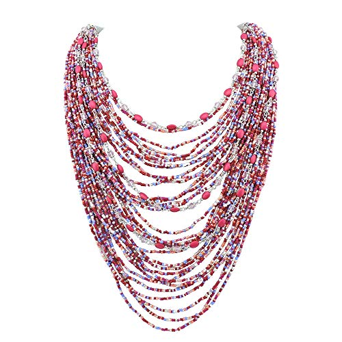 Bocar Multi-Layer Long Chain Chunky Bib Seed Beads Statement Necklace (NK-10410-fuchsia red)