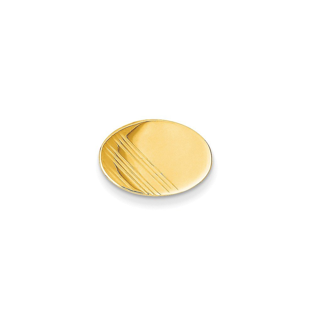 14k Yellow Gold Oval-Shaped Tie Tac with Line Details