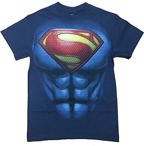 [Superman Man of Steel Full Chest Costume Adult Men's T-Shirt (X-Large)] (Mens Tshirt Superman Costumes)