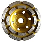 7 Inch (pack of 4 Pieces) Diamond Double Row Grinding cup wheel 28 segment for concrete stone birck cement surface grinding coating paint remove mortar leveling heavy duty abrasive wheel sanding disc -  Diamond Abrasive and Power Tools
