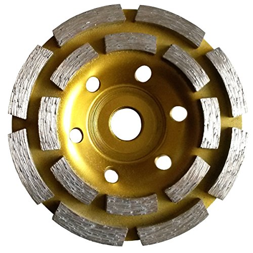 (7 Inch (pack of 3 Pieces) Diamond Double Row Grinding cup wheel 28 segment concrete stone birck cement surface grinding coating paint remove mortar leveling heavy duty abrasive wheel sanding grinder)