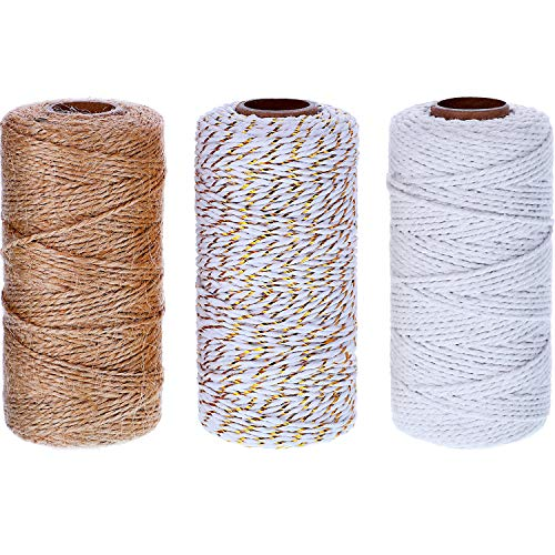 984 Feet Cotton Baker Twine 2 mm Halloween Valentine's Day Christmas Wrapping String Rope for DIY Craft (White, Jute, White and Gold)