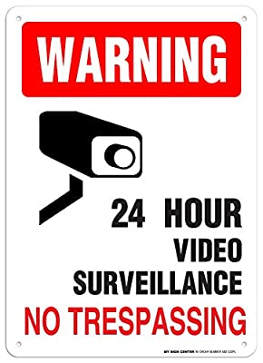 """Warning 24 Hour Video Surveillance No Trespassing Sign - 10""""x14"""" - .055 Heavy Duty Plastic - Made in USA - UV Protected and Weatherproof - A82-232PL"""