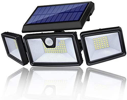 TonyEst Solar Lights Outdoor, Bright 132 LED Solar Motion Sensor Light Outdoor Waterproof Solar Security Lighting Solar Wall Lights, Adjustable 3 Heads with 3 Modes for Yard Garage Patio Cool White
