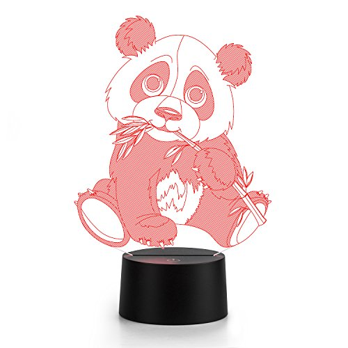 3D Lamp Panda lamp LED night light Panda Bamboo lamp leaf Touch 7 Color Change Table Lamp Xmas Toy Gift Birthday gift light Valentine's Day present