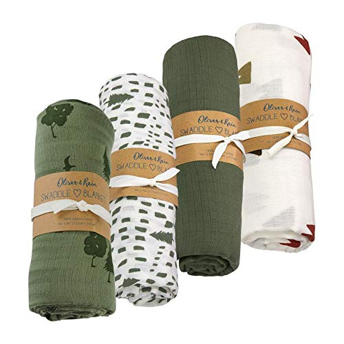 Oliver & Rain Baby Swaddle Sampler - 4-Pack Newborn 100% Organic Cotton Muslin Swaddle Blankets in Green Tree & Mountain Print