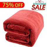 Luxury Fleece Blanket by Shilucheng Super Soft and Warm Fuzzy Plush Lightweight Twin Couch Bed Blankets - Burgundy