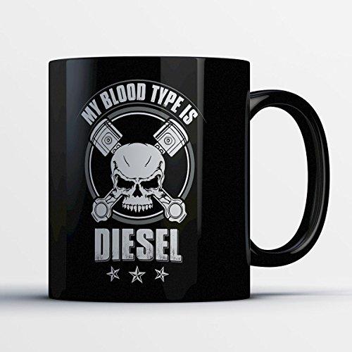 [Truck Driver Coffee Mug - My Blood Type Is Diesel - Adorable 11 oz Black Ceramic Tea Cup - Cute Truck Drivers Gifts with Truck Driver] (Driver Seat Halloween Costume)