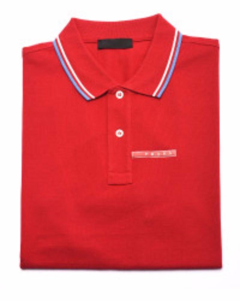 Prada Men's Cotton Piqué Short Sleeve Slim Fit Polo Shirt, Red SJJ887 (L (Large))