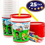Spill-Resistant, Dishwasher-Safe Kids Party Cups With Lid and Straw 25 Pack. BPA Free Material is Durable Enough to be Reusable or Take and Toss! Great for Kid Birthday Parties, Travel or Bathroom Cup