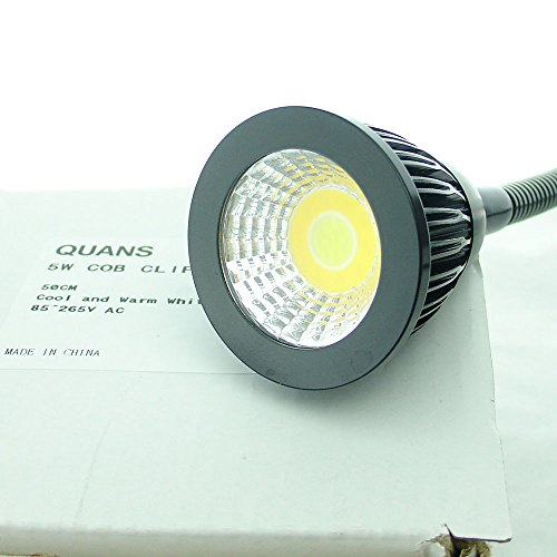 QUANS 5W 3 Colors LED COB Clip on Light Black 19.68 INCH 50 CM Tube Desk Flexible Table Bed Lamp Work Home Design lighting 110V 220V 85-265VAC with US Plug switch on off 500LM D44b by QUANS (Image #5)
