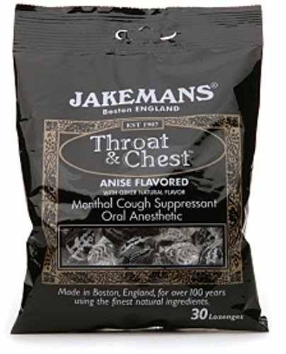 Jakemans Throat & Chest Lozenges, Anise Menthol 30 ea (Pack of 4)