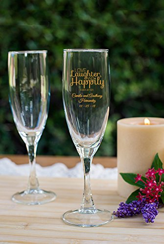 Set of 288 Love Laughter and Happily Ever After 5.75 Oz Wine Glasses, Bride to Be Engagement Party Celebration, Personalized Toasting Flutes, Gold (Personalized Wedding Toasting Goblets)