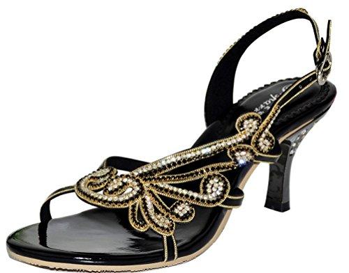 Salabobo L002 Womens Roman Rhinestone Kitten Heel Open Toe Sandals Glaring Pretty Performance Fashion Wedding Dress Bride Bridemaid Party Work Job Leisure Shoes Black