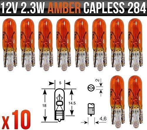 Indicator /& Panel Flasher Amber Lamp R284A x 10 12v 2.3w T5 WY2.3W Dashboard