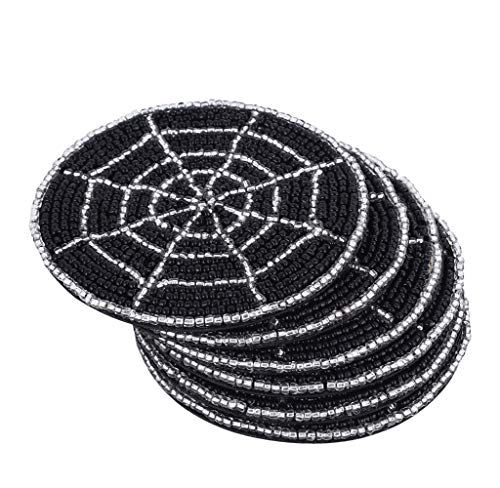 Halloween Spider Web Art (Hand Beaded Spider Web Beaded Coaster 4 Inch - Tea Coaster, Coffee Coaster, Dinning Table Accessories, Wedding Decoration, Dining & Serving Party Decor Gift Art - Set of 6 -)