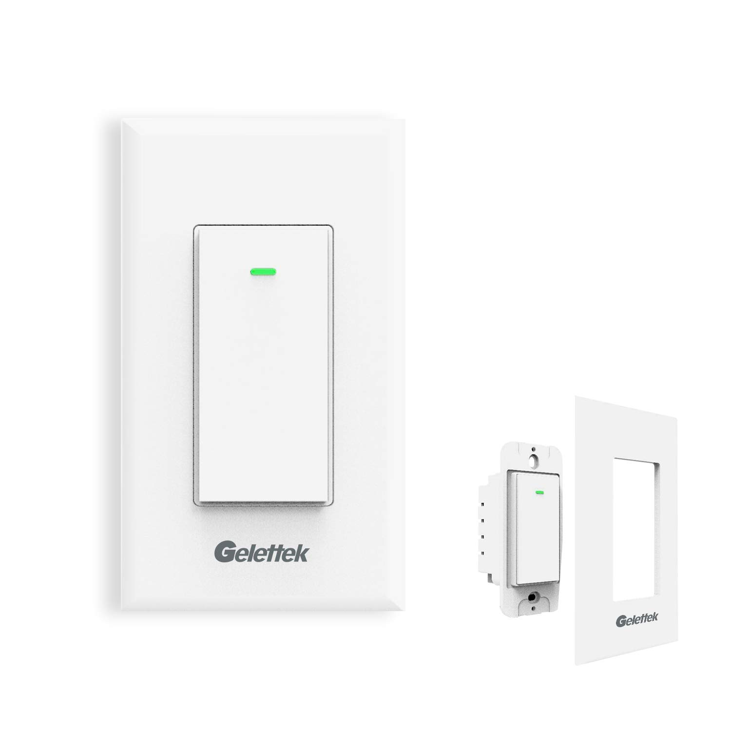 Wi-Fi Smart Wall Light Switch,Touch,Voice and Remote Control Lights and Appliances Timing Function Compatible with Alexa and Google Assistant,No Hub Required, Natural Wire Required-15A Physical Key