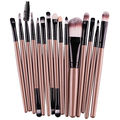 Sixpi 15Pcs/Set Professional Eye Shadow Foundation Eyebrow Lip Brush Makeup Brushes Tool Wooden Handles (Gold)