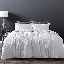 Dreamaker Soft Cotton Linen Duvet Cover Set w/ Pillowcase 180TC Button Enclosure Twin XL Queen King Size Bedding Set (White, King)