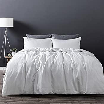 Dreamaker Luxury Soft 100% Washed Cotton Linen Quilt Duvet Cover Bedding Set w/ Pillowcase (Queen, White)