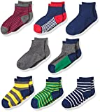 Stride Rite Little Boys' 8-Pack Quarter, Rugby Stripe-Assorted Colors, Sock: 7-8.5 / Shoe: 10-13