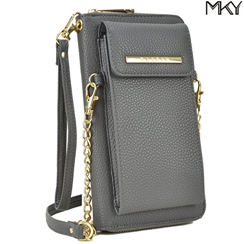 Cellphone Wallet Smartphone Pouch Clutch Purse Crossbody Shoulder Bag Wristlet Smart Phone Case Grey