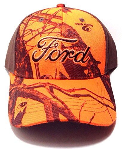 dabf2a7dcd1 Amazon.com  Ford Neon Orange Mossy Oak Camo Hat Cap  Clothing