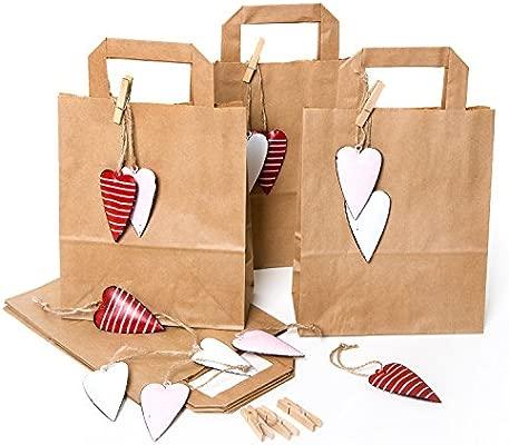 6 pequeños marrón papel kraft bolsa de regalo 18 x 22 x 8 cm ...